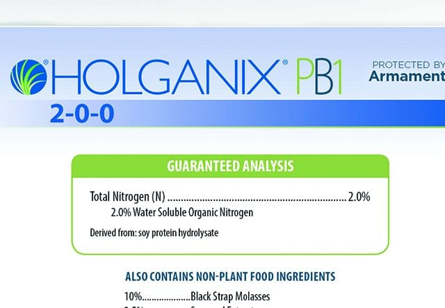 Holganix PB1 2-0-0 the guaranteed analysis