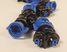 close-up of blue nozzles