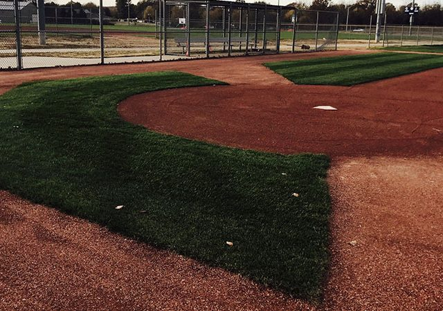 close-up of baseball field in the middle of season field maintenance