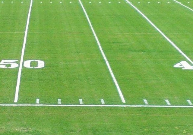 close-up of football field