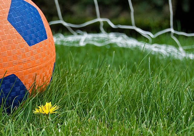 close-up of soccer ball in front of goal