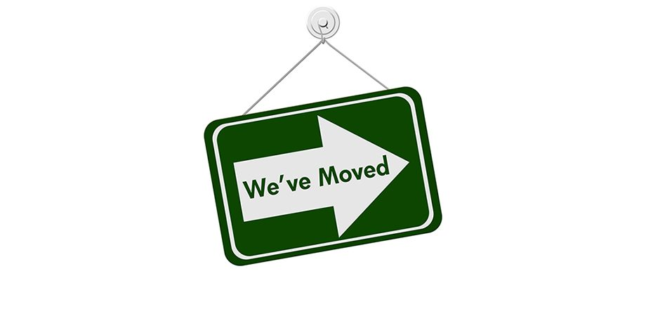We've Moved green arrow sign for two new locations