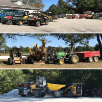 collage of different golf course equipment