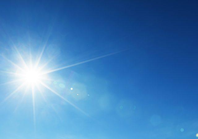 blue sky and sun shining