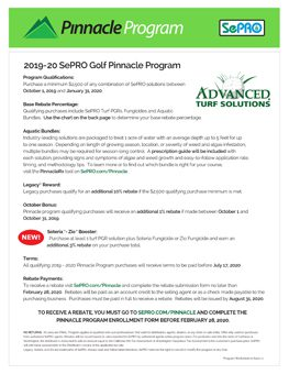 front page of 2019-20 SePRO Golf Pinnacle Program