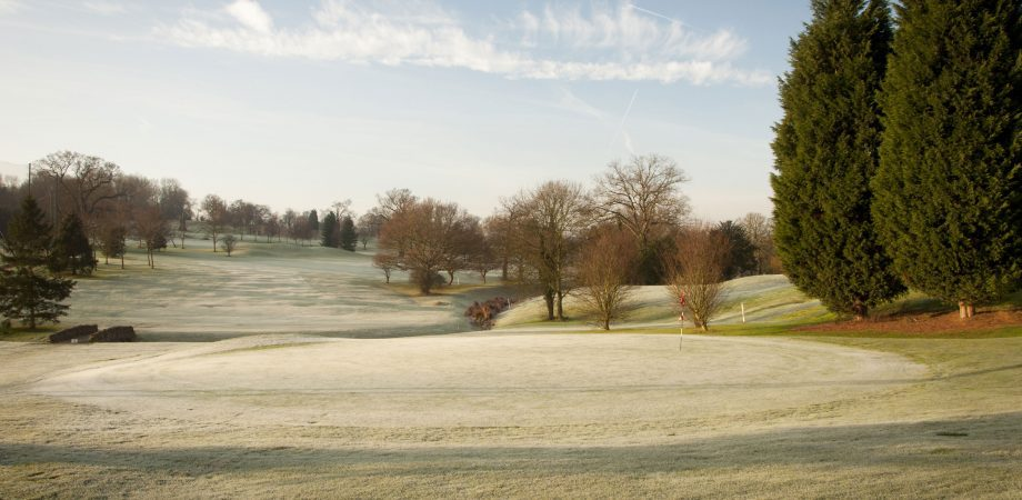 landscape view of a golf course during the winter