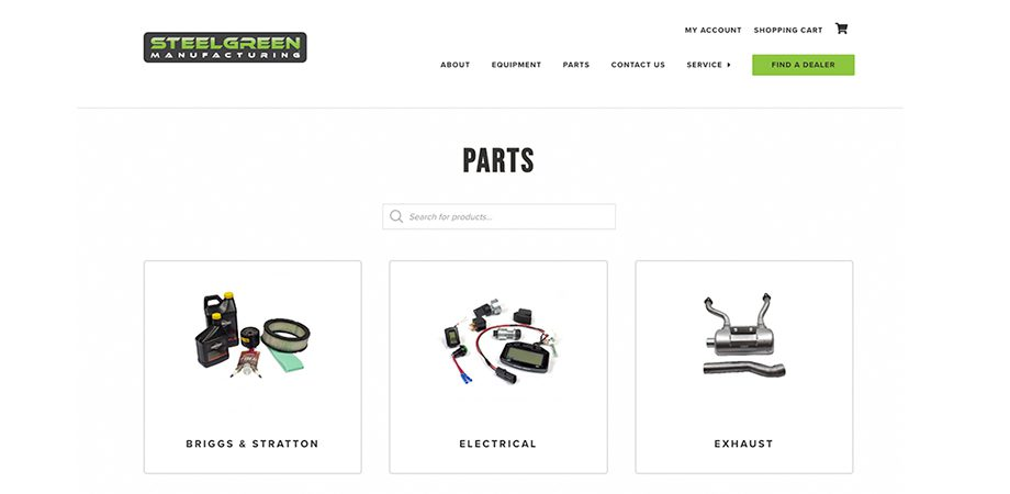 steelgreen manufacturing parts for sale on website