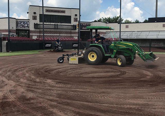 laser grading baseball field