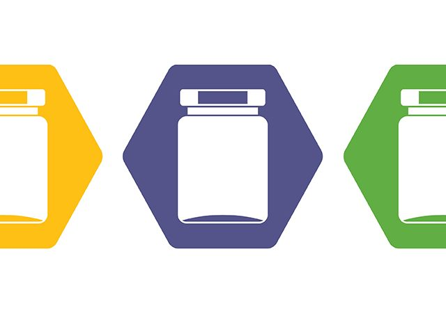 jars in yellow purple and green hexagons