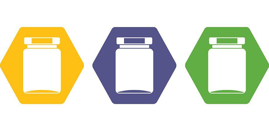 jars in yellow purple and green hexagons