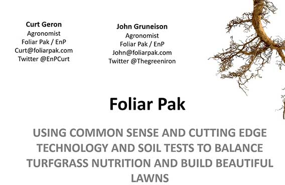using common sense and cutting edge technology and soil tests to balance turfgrass nutrition
