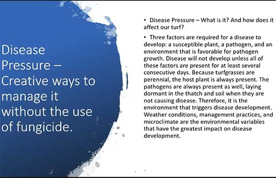 disease pressure - create ways to manage it without fungicide