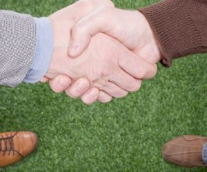 turf staff workers shaking hands